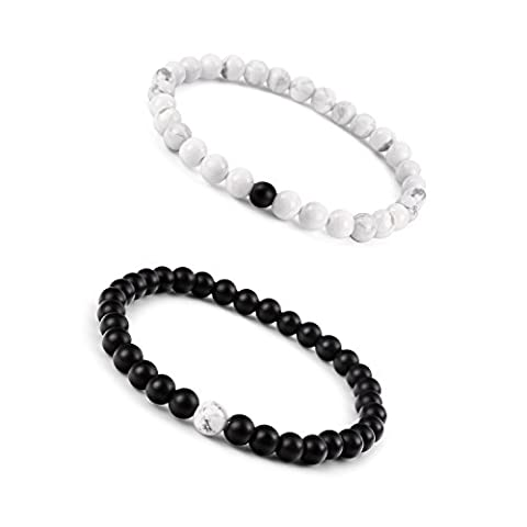 Paxuan Mens Womens Couples His and Hers Bracelet Black Matte Agate & Imported White Howlite Beads Bracelet YinYang Bracelet Set 6MM Pack of 2 (2pcs (Her Healing Co)