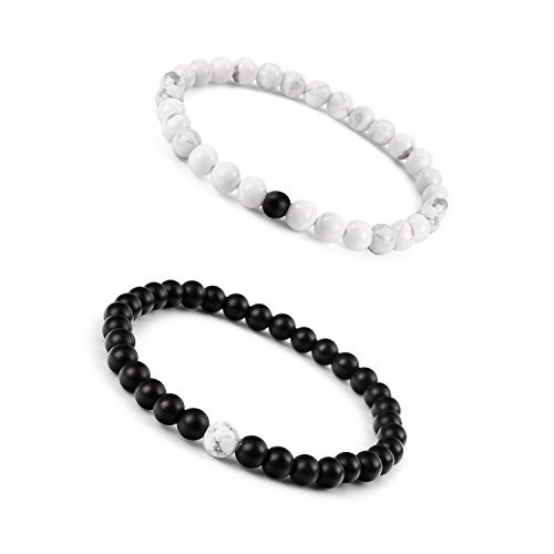 [Paxuan Mens Womens Couples His and Hers Bracelet Black Matte Agate & Imported White Howlite Beads Bracelet YinYang Bracelet Set 6MM Pack of 2 (2pcs] (Matching His And Her Costumes)