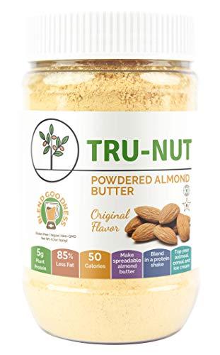 - Tru-Nut Powdered Almond Butter (15 Servings, 6.5oz Jar) Good Source of Protein - Keto, Vegan, Gluten Free, Non-GMO, California Almond Protein Powder