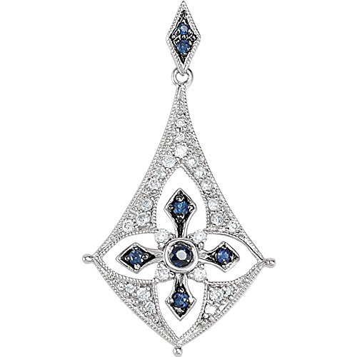 Jewels By Lux 925 Sterling Silver Sapphire & 1/6 CTW Diamond Pendant