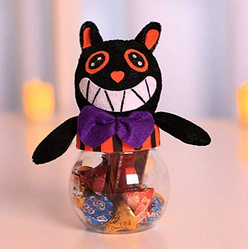 Gwill Halloween Candy Jar Bat/Black Cat/Witch/Pumpkin Cartoon Plush Decor Doll Treat Or Trick Cookie Storage Can Chocolate Gift Box for Halloween Party Bar Decoration]()
