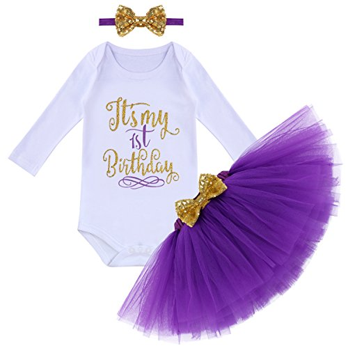 (It's My First 1st Birthday Outfit Baby Girls Long Sleeve Romper + Ruffle Tulle Skirt + Sequin Bowknot Headband Shiny Party Princess Dress up Costume for Cake Smash Photo Fall Clothes Purple 1 Year)