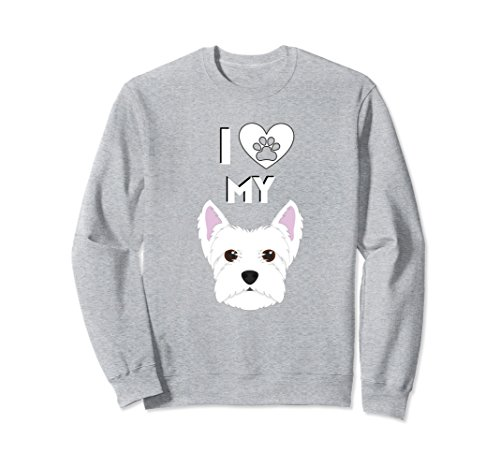 (Unisex I Love My Dog Westie West Highland Terrier Gift Sweat Shirt Medium Heather Grey)