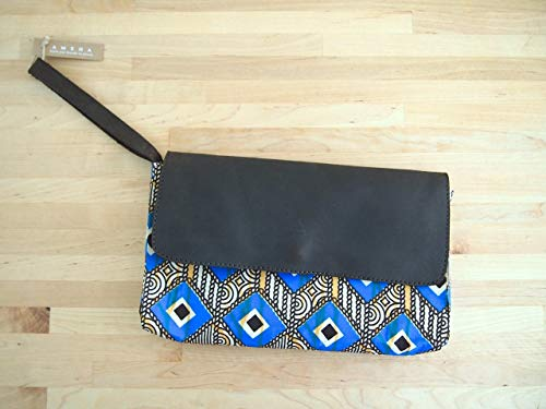 African Wristlet Clutch Handbag, Made in Kenya from Dutch wax print fabric and brown leather