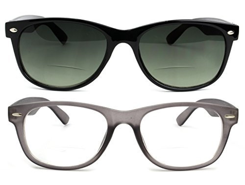 Bifocal Reading Glasses and Bifocal Sunglasses for Men and Women 2.5 Gray