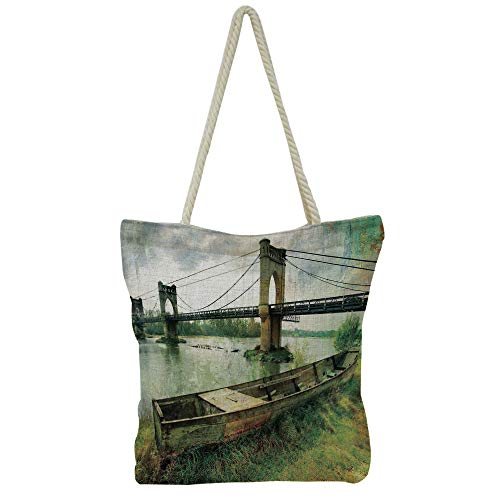 - iPrint Hand Cotton and Linen Bag Shoulder Bag,Landscape,Brooklyn Bridge Pedestrian Walkway Before Sunrise American Landmark Picture,Purple Brown,3D Print Design.