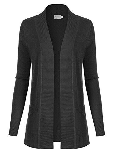 Design by Olivia Women's Open Front Long Sleeve Classic Knit Cardigan Charcoal - Long Blouse Nylon Sleeve
