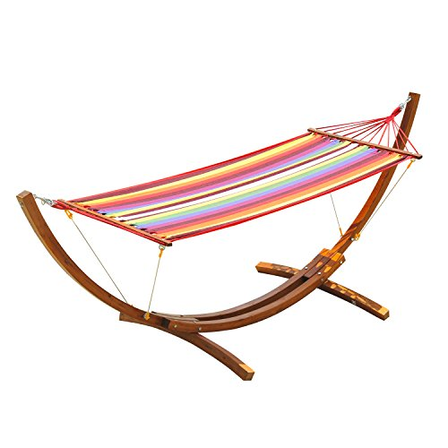 Pine Swing Stand - Outsunny Single Wood Arc Outdoor Hammock & Stand Set