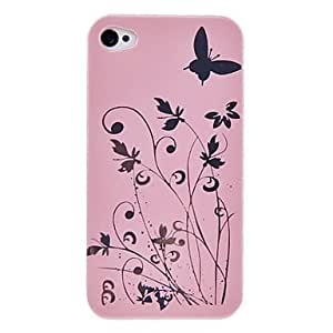 GJYFlowers and Butterfly High Grade PC Protective Case for iPhone 4/4S (Assorted Colors) , White