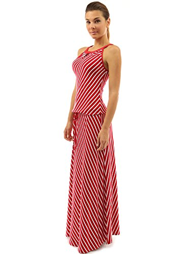 PattyBoutik Women Striped Keyhole Drawstring Maxi Dress (Red and White Medium) (Horny Toad Dress)