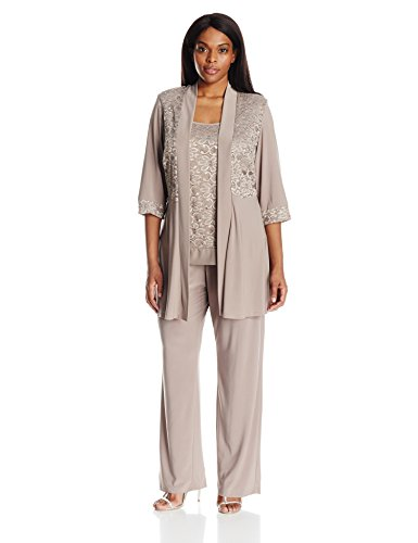 R&M Richards Women's Plus Size Lace Pant Set, Mocha, 16W