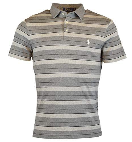 Polo Ralph Lauren Men's Pony Logo Striped Interlock Polo Shirt (L, Grey/Heather) (Hooded Striped Rugby)