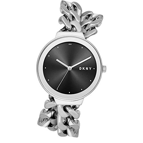Dkny Womens Silver Dial - DKNY Women Astoria Double Wrap Chain Stainless Steel Silver Tone Black Dial Watch NY2723...