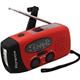 [Upgraded Version] iRonsnow IS-088+ [1000mAh] Solar Hand Crank Radio AM/FM/NOAA/WB Weather Emergency Radio, Dynamo LED Flashlight Power Bank for iPhone/Android Smart Phone (Red)