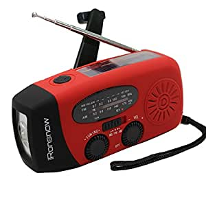 [2016 Upgraded Version] iRonsnow IS-088+ [1000mAh] Solar Hand Crank Radio AM/FM/NOAA/WB Weather Emergency Radio, Dynamo LED Flashlight Power Bank for iPhone/Android Smart Phone (Red)