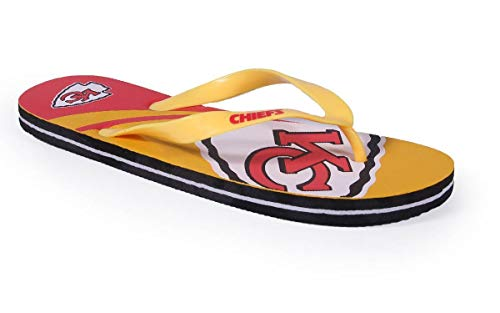 KCCBLG2-1 - Kansas City Chiefs- Small - Officially Licensed NFL Big Logo Flip Flops - Happy Feet and Comfy Feet -