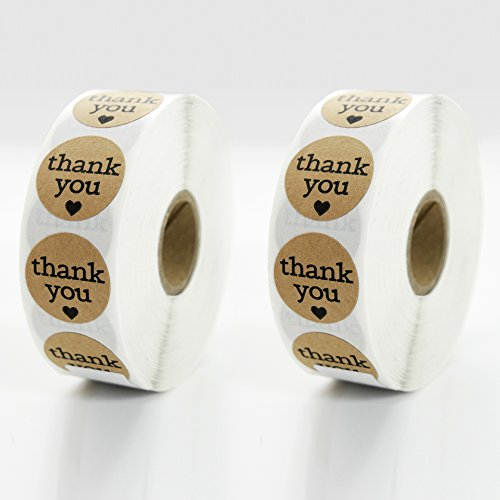 Order Free Gift Stickers - Premium Thank You Sticker Roll By TotalPack - 1000 Round 1 Inch Self-Adhesive Stickers Pack - Great For Stationaries, Gift Bags, Party Favors, Bridal Showers, And More! - Kraft Paper Color, 2 Rolls