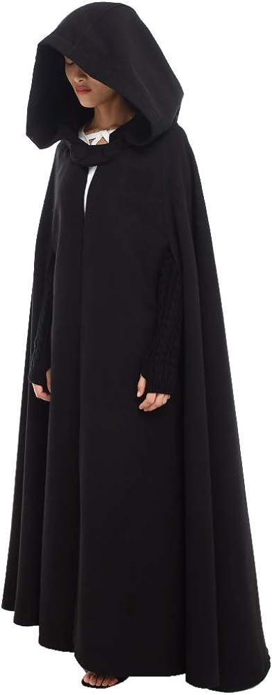 GRACEART Medieval Cosplay Robe Cloak Wool Blend Hooded Cape