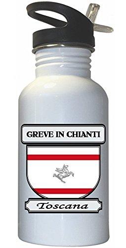 Chianti Straw Bottle (Greve in Chianti, Toscana (Tuscany) City White Stainless Steel Water Bottle Straw)