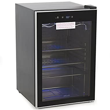 Della Beverage Wine Cooler Mini Refrigerator, Digital LED, Black