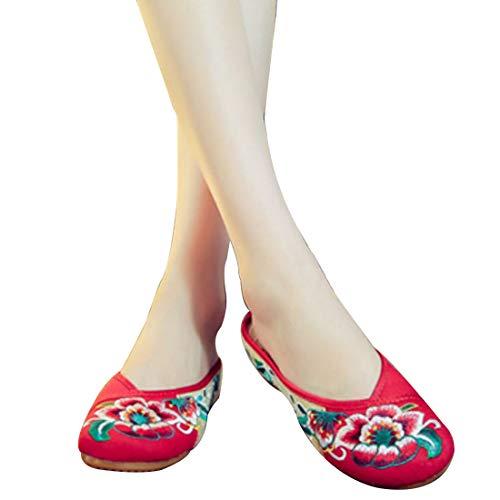 Augmente Pantoufles De Femmes Fleurs Tête Rouge Chaussures Brodées Pour Casual Motif Muchao Ronde SCqvFxC