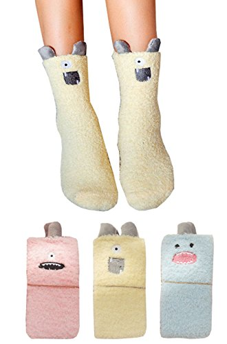 Soft Warm Cozy Fuzzy Socks for Winter Little Monster (Yellow Blue Pink)