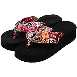 2017 Summer bohemia flower Women flip flops platform wedges women sandals platform beach shoes