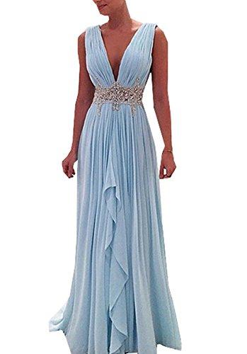 Half Flower Bridal Deep V Neck Evening Dress Backless Rhinestone Chiffon Prom Dress Style 12 SkyBlue US6