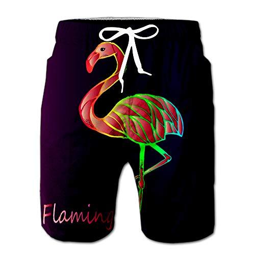 Bright Pink Flamingo On Purple Gradient Exotic Rare Bird Beautiful Close Up Sketch Men Swimwear Volley Pants Pocket XXL (Best Modeling Poses For Men)