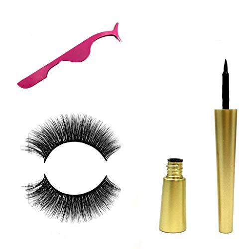 SUSSMAI Natural Magnetic Fast Drying Lasting Liquid Eyeliner Magnetic False Eyelash Clip - A Pair of Magnetic False Eyelashes + Powder Eyelash Curler + Magnetic Eyeliner -