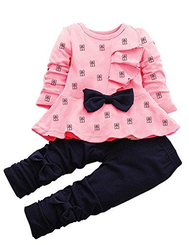 leggings mesi Set anni maniche 4 pezzi Baby Pantaloni Rosa Aky 6 1 e shirt lunghe Pigiama 2 Girl T Fiocco qzFCEZ