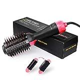 Hot Air Brush, SHVYOG Hot Dryer Brush One Step Hair Dryer & Volumizer, 3-in-1 Salon Negative Ion Hair Straightener Curler Brush Styling Styler Brush for All Types Hair