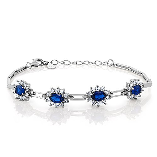 (Gem Stone King Simulated Sapphire 925 Sterling Silver Women's Bracelet (2.36 cttw, 7 Inch with 1 Inch Extender))