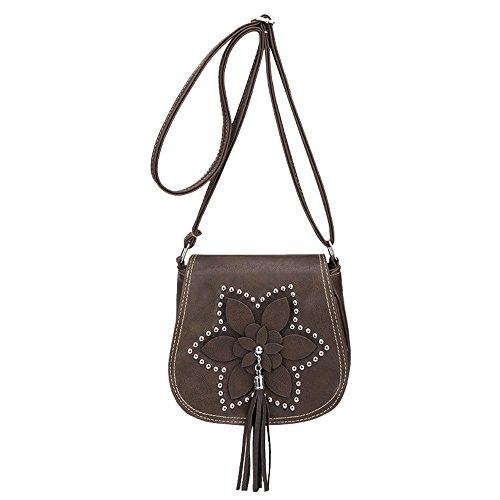 Bag Women Messenger Flowers Handbag SOMESUN Cross Bag Tassel Coffee Shoulder Leather Crossbody Vintage Body Bags 1qxqZEUw