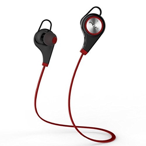 Bluetooth Headphones, UKINDA Wireless Bluetooth Earbuds Headset Earphones Noise Cancelling,Running, Exercise,Hiking Sports;Sweatproof. Suitable for IOS & Android Devices(Red) (Monster Heavy Bag)