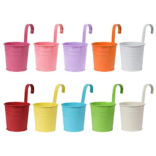 Erin lada Metal Hanging Flower Basket - Set of 10 Colorful Pots - Rail Fence Planter Balcony, Patio, Lawn, Garden, Wall Hanger Outdoor Decoration for Orchid, Rose, Tulip, Succulent, etc