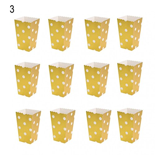 HEART SPEAKER 12Pcs Mini Paper Popcorn Boxes Candy Snack Bags Birthday Movie Party Supplies size Dots# (Golden) ()