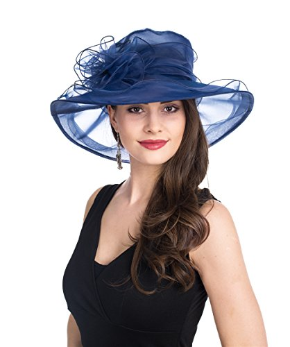 SAFERIN Lady Tea Party Kentucky Derby Church Wedding Dress Church Hat Bridal Shower (SF3-Navy)