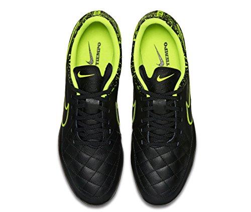 Nike Herren Tiempo Genio Leather SG Fußballschuhe, UK Schwarz / Grün (Schwarz / Schwarz-Volt)