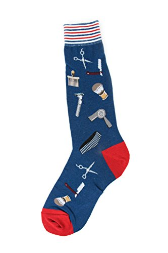 Foot Traffic-Special Interest Men's Socks,Barber Shop,One Size Fits Most