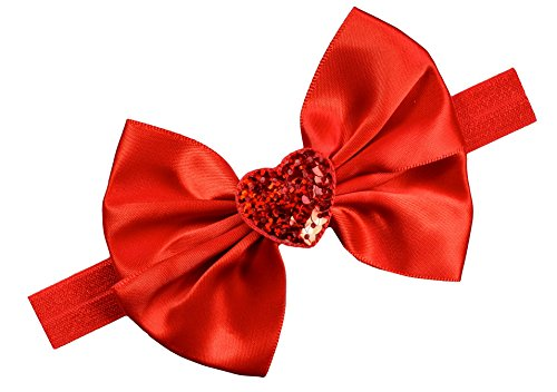 (Valentine's Day Sequin Heart Satin Bow Baby Headband~Funny Girl Designs (0-12 Months, Red))
