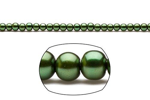 (4mm round metallic-tone dark forest green glass pearls 32inch stings)