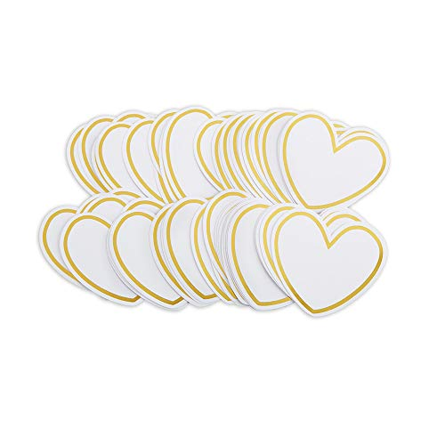 Kate Aspen 28463NA HEART SHAPED CARDS FOR WISH JAR (SET OF 50) Accessory, One Size, White, Gold (Heart Shaped Cut-out)