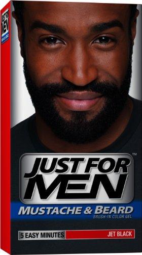 Just for Men Brush-In Gel de couleur pour moustache, barbe et Pattes, Jet Black, M-60, 1 kit (pack de 3)
