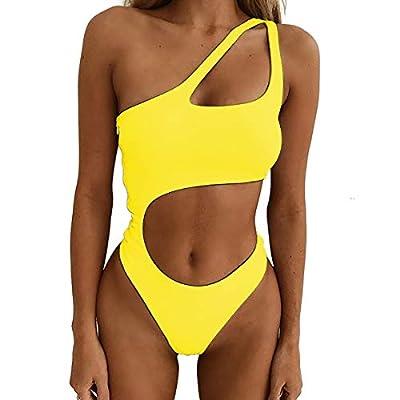 NE Norboe Women's One Shoulder Sexy High Cut One Piece Swimsuits Swimwear for Women Bikinis