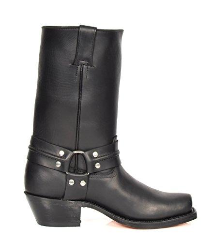 Herren Echte Leder Cowboy überstreifen Stiefel Western Absatz Wadenlänge Schuhe HLG04HA Schwarz