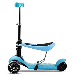 Kids 3 LED Wheels Mini Kick Scooter Children Walkers 3-in-1 Toddler Scooters with Adjustable Handle T-Bar & Seat (Blue)