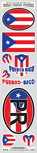 (Puerto Rico 9 stickers set Puerto Rican flag decals bumper car auto bike laptop by Car Chrome Decals STS-PR)