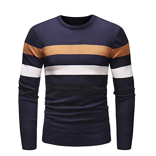 iOPQO Man's Pullover Sweater, Winter Long Sleeve Stripe Tops T-Shirt Hooded Blouse (Coogi Coats)
