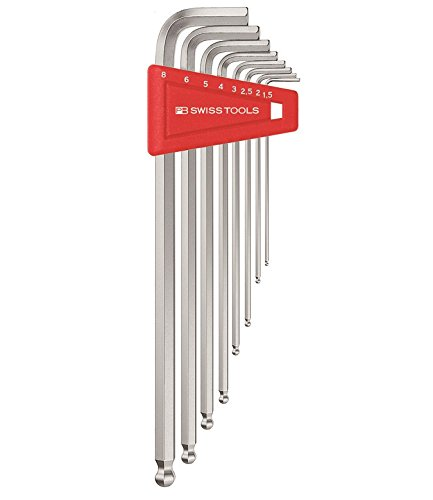 Long 10 Pieces - PB Swiss PB 212LH-10 9 Piece Long Chrome Ball point Hex/Allen Key Set